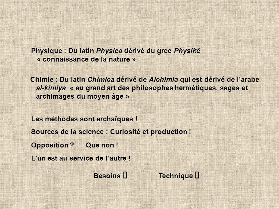 Physique : Du latin Physica dérivé du grec Physikê