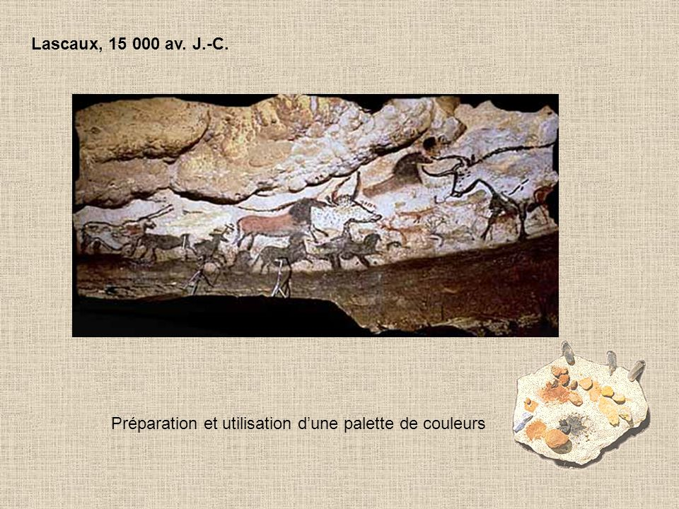 Lascaux, 15 000 av. J.-C. Préparation et utilisation d'une palette de couleurs