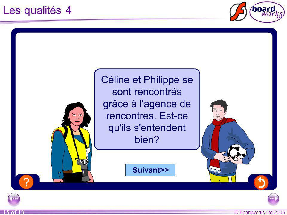 Les qualités 4 Ask the pupils whether Céline and Philippe got on well on their date.