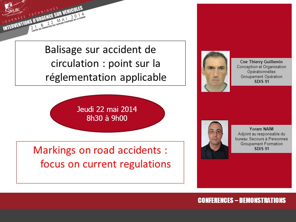 Markings on road accidents : focus on current regulations