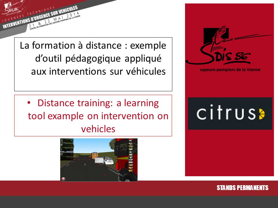 Distance training: a learning tool example on intervention on vehicles
