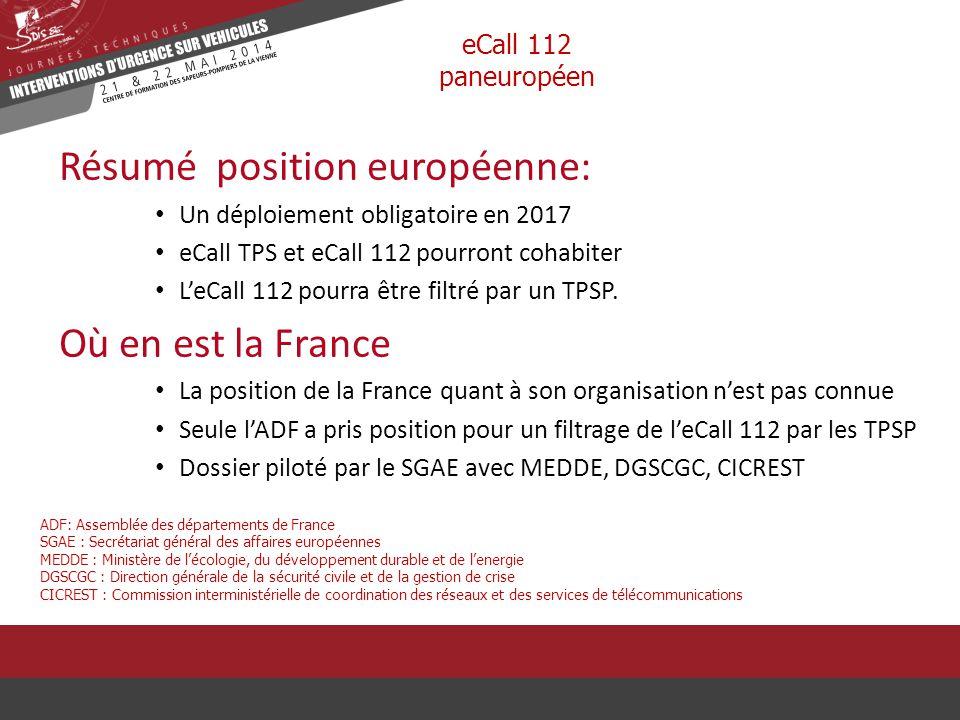 Résumé position européenne: