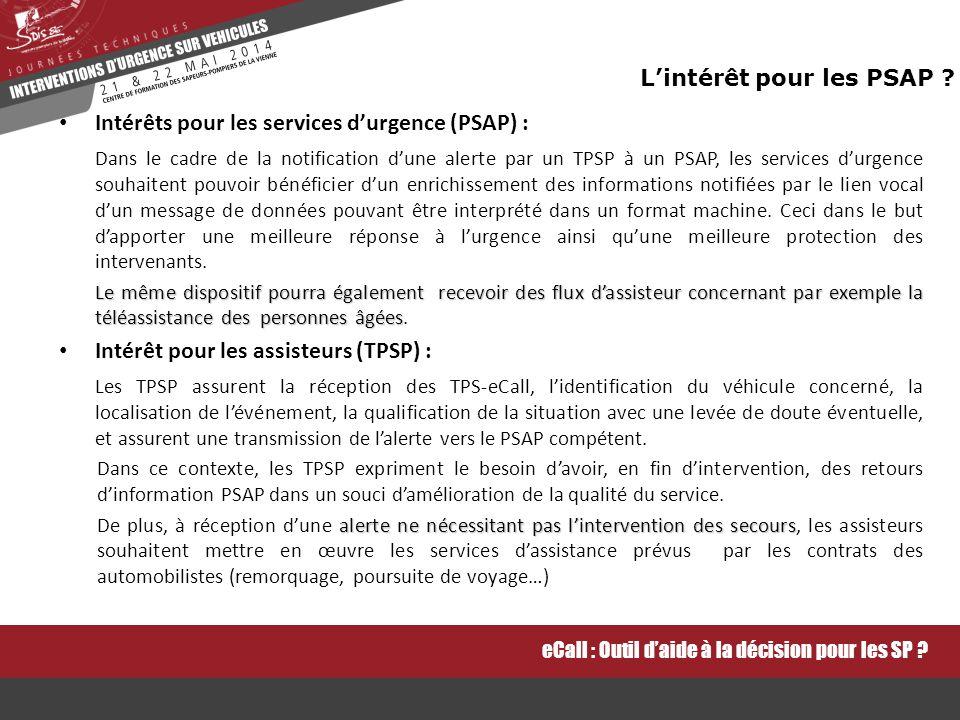 Intérêts pour les services d'urgence (PSAP) :