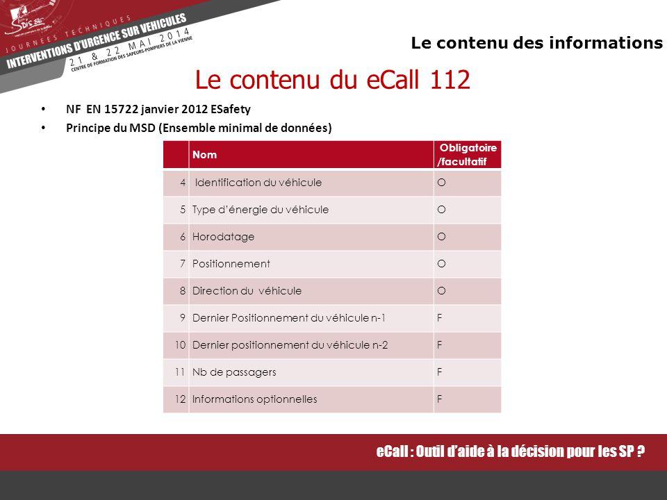 Le contenu du eCall 112 Le contenu des informations