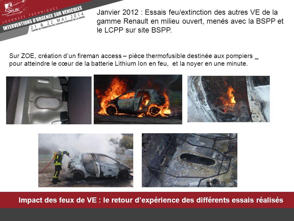 Janvier 2012 : Essais feu/extinction des autres VE de la gamme Renault en milieu ouvert, menés avec la BSPP et le LCPP sur site BSPP.