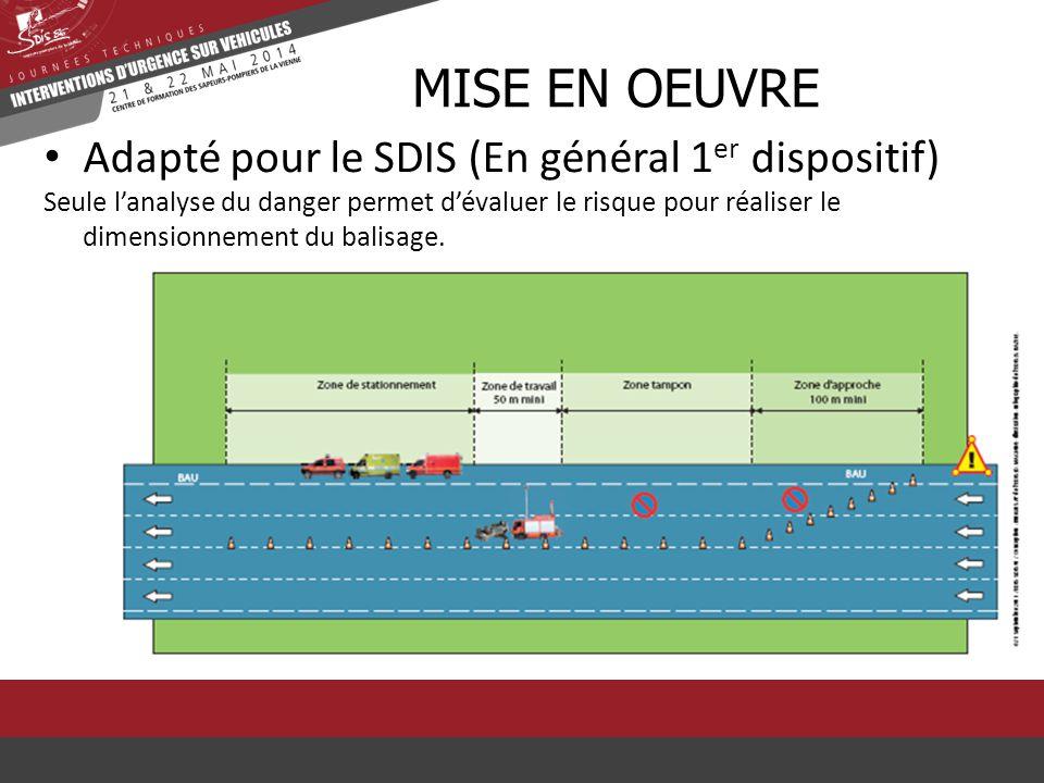 Mise en oeuvre Adapté pour le SDIS (En général 1er dispositif)