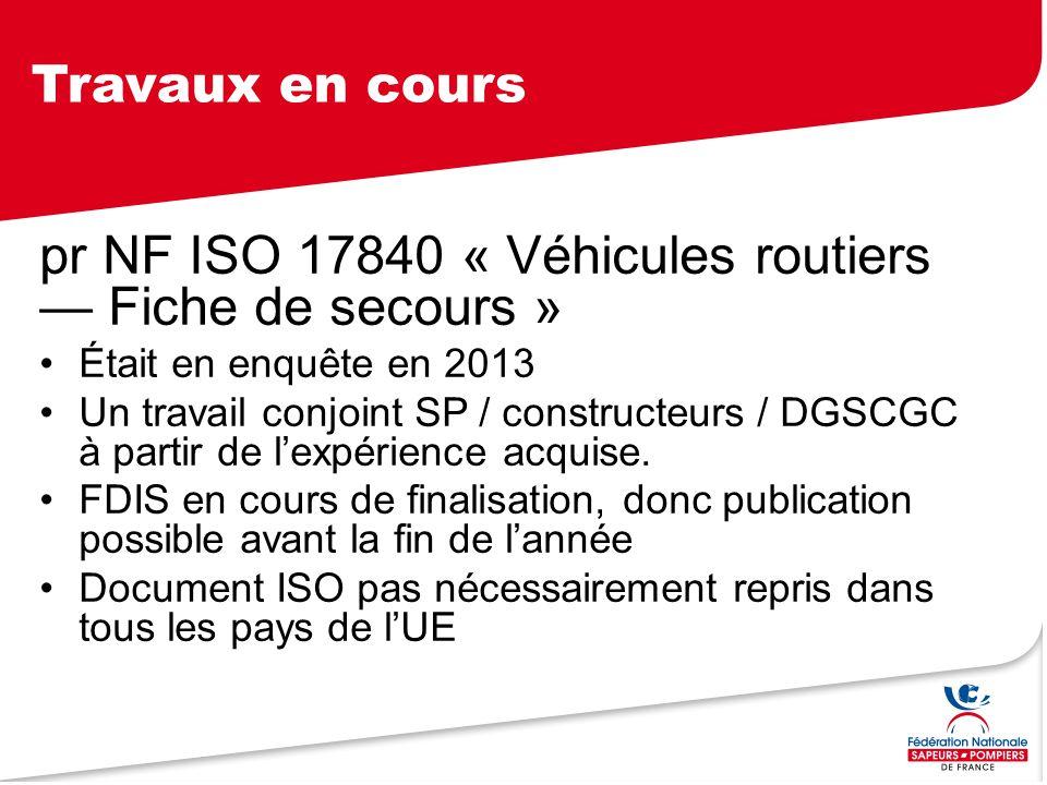 pr NF ISO 17840 « Véhicules routiers — Fiche de secours »