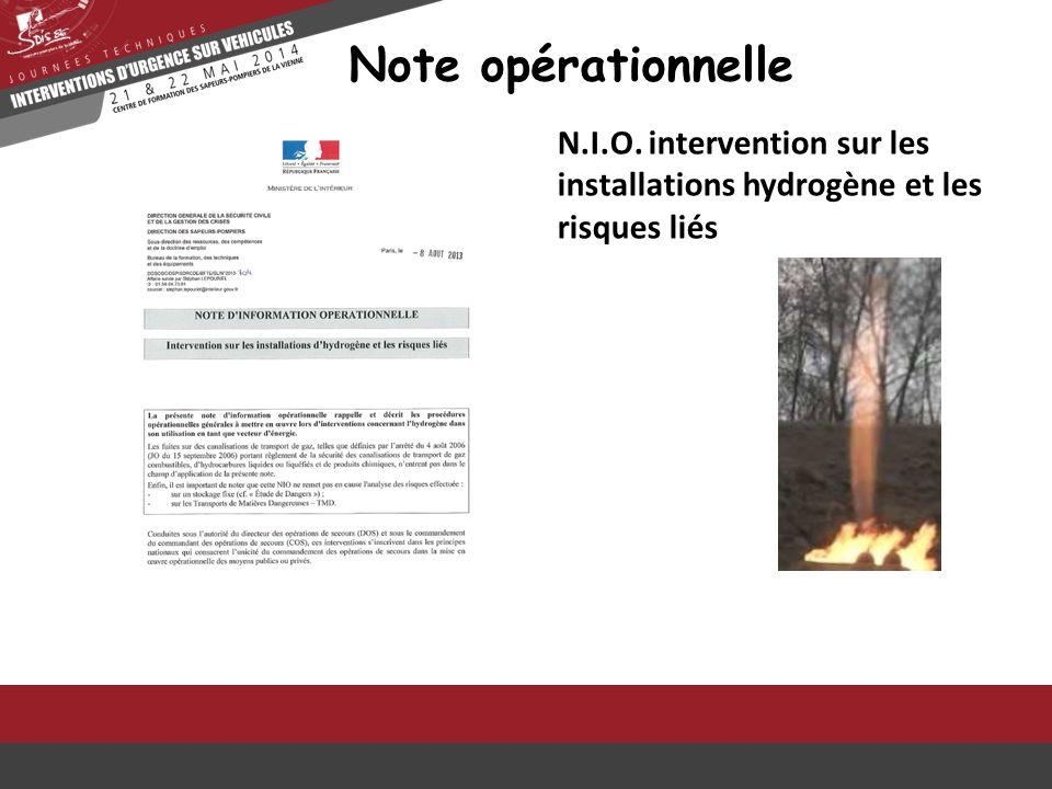 Note opérationnelle N.I.O. intervention sur les installations hydrogène et les risques liés