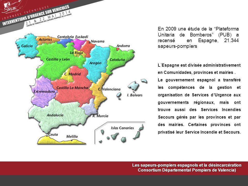 En 2009 une étude de la Plateforma Unitaria de Bomberos (PUB) a recensé en Espagne, 21.344 sapeurs-pompìers