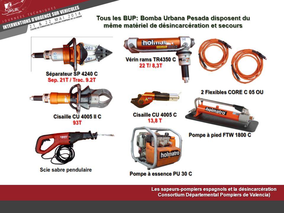 Tous les BUP: Bomba Urbana Pesada disposent du même matériel de désincarcération et secours