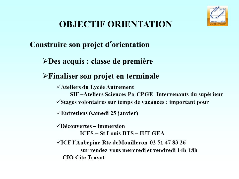 OBJECTIF ORIENTATION Construire son projet d'orientation