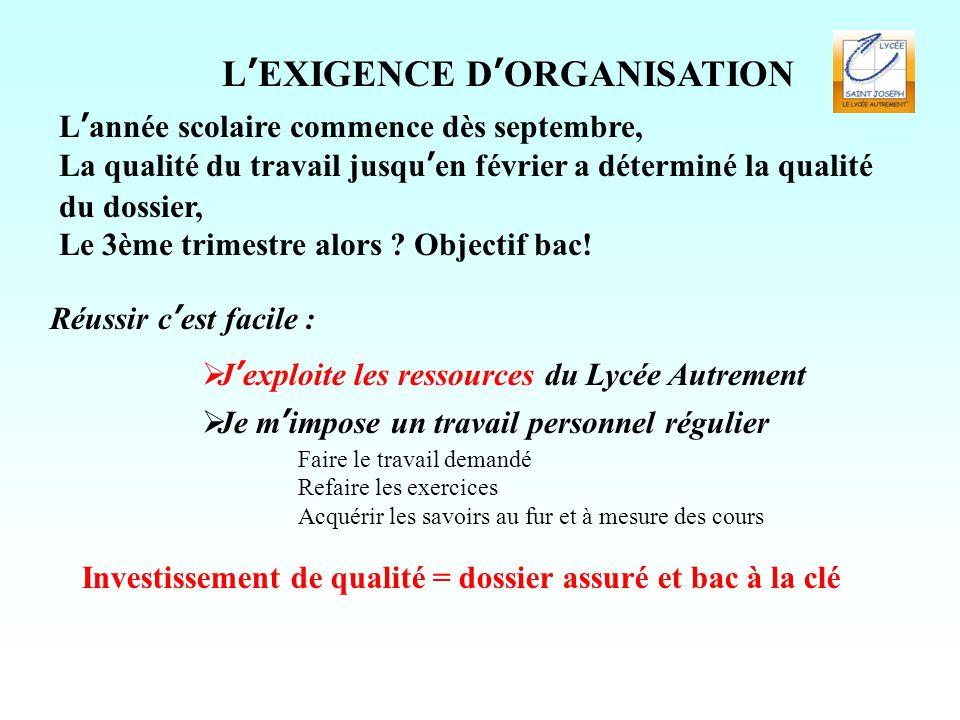 L'EXIGENCE D'ORGANISATION