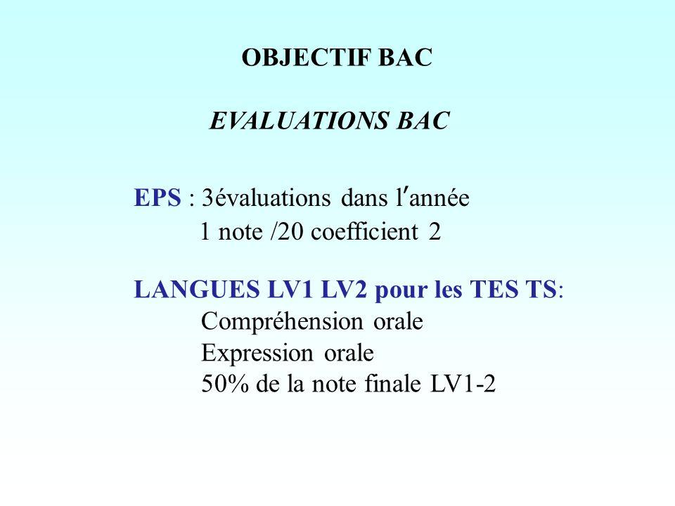 OBJECTIF BAC EVALUATIONS BAC. EPS : 3évaluations dans l'année. 1 note /20 coefficient 2. LANGUES LV1 LV2 pour les TES TS:
