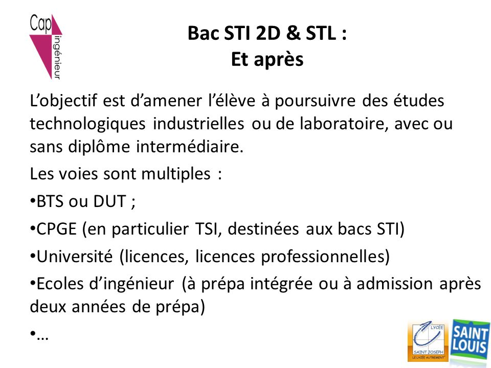 Bac STI 2D & STL : Et après