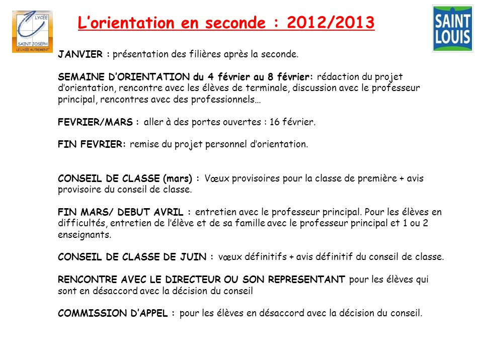 L'orientation en seconde : 2012/2013