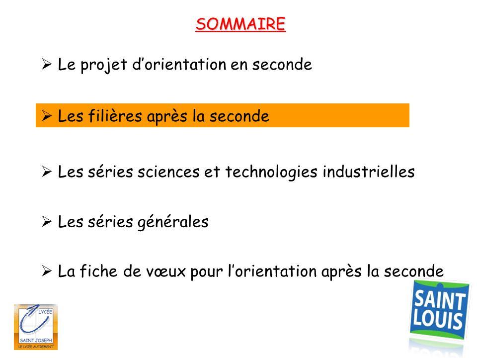 SOMMAIRE  Le projet d'orientation en seconde.  Les filières après la seconde.  Les séries sciences et technologies industrielles.