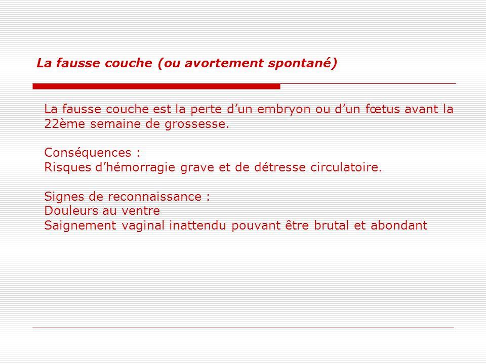 La fausse couche (ou avortement spontané)