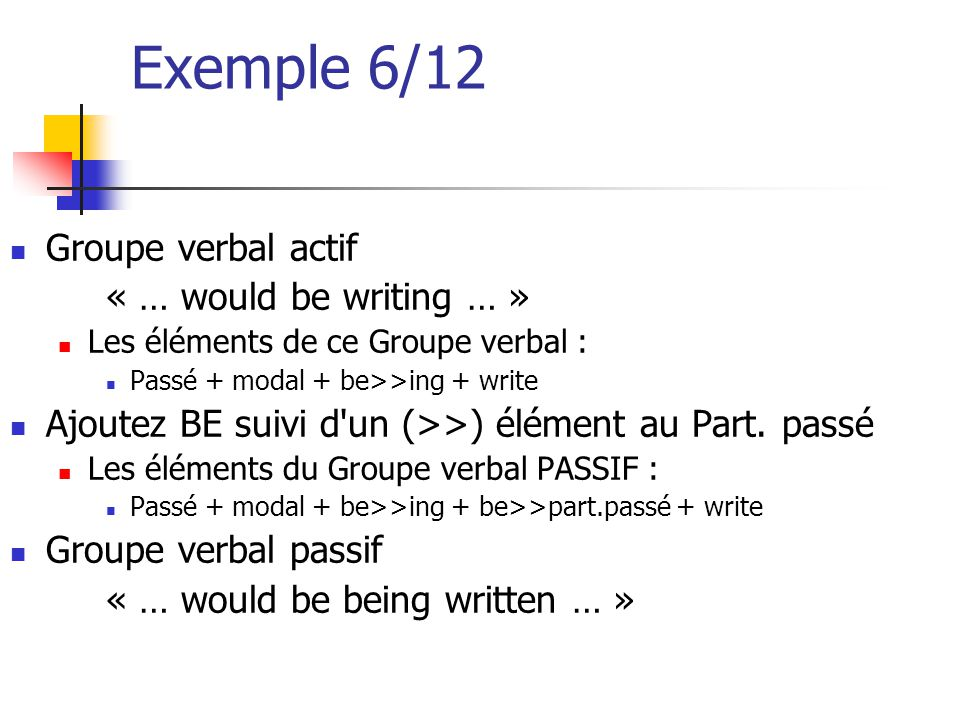 Exemple 6/12 Groupe verbal actif « … would be writing … »