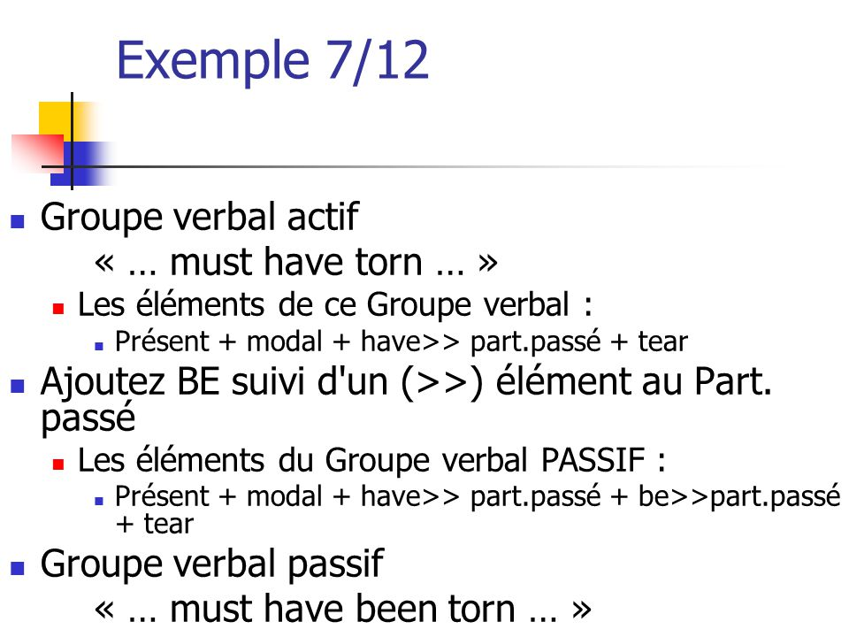 Exemple 7/12 Groupe verbal actif « … must have torn … »