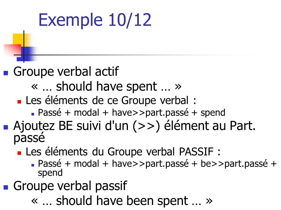 Exemple 10/12 Groupe verbal actif « … should have spent … »