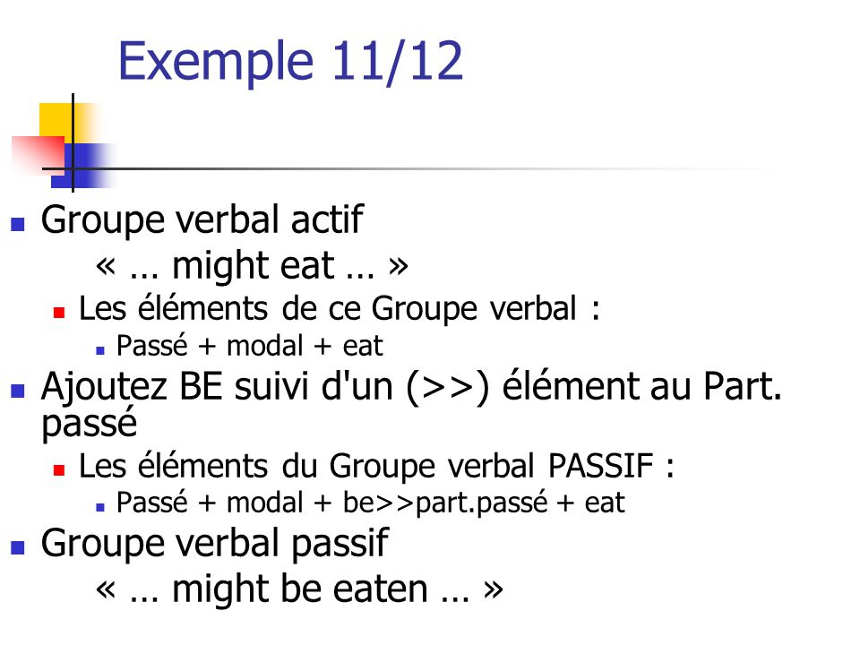 Exemple 11/12 Groupe verbal actif « … might eat … »