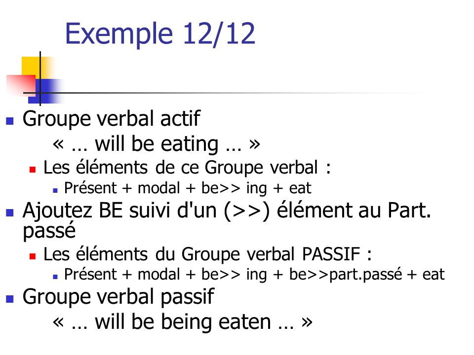 Exemple 12/12 Groupe verbal actif « … will be eating … »