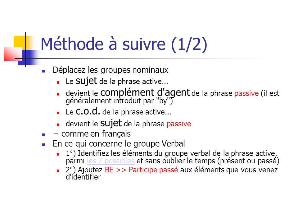 Méthode à suivre (1/2) Déplacez les groupes nominaux
