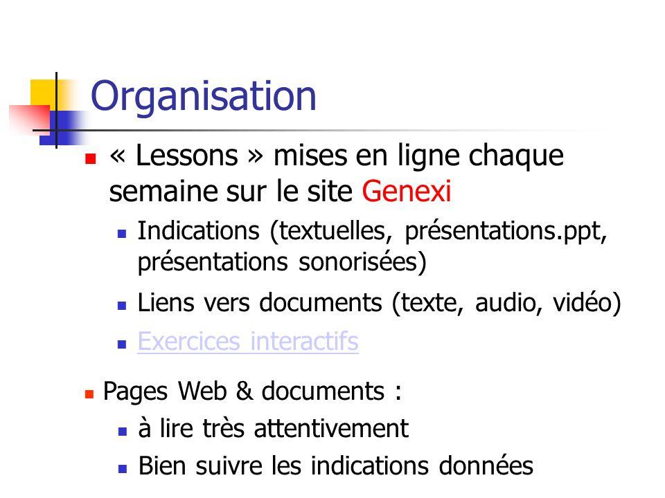 Organisation « Lessons » mises en ligne chaque semaine sur le site Genexi. Indications (textuelles, présentations.ppt, présentations sonorisées)