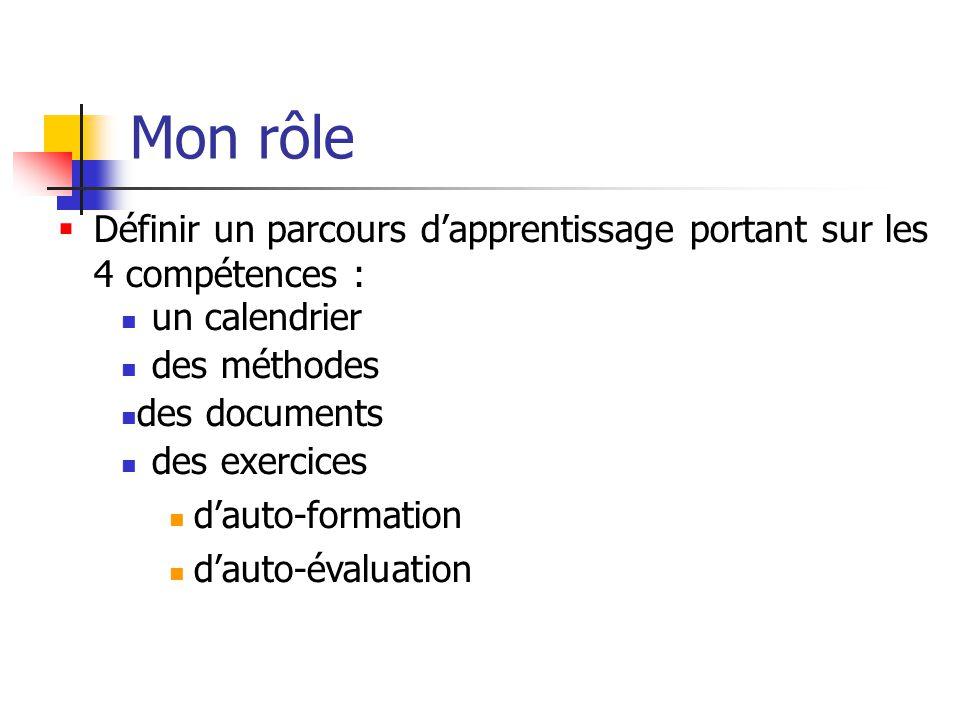 Mon rôle Définir un parcours d'apprentissage portant sur les 4 compétences : un calendrier. des méthodes.