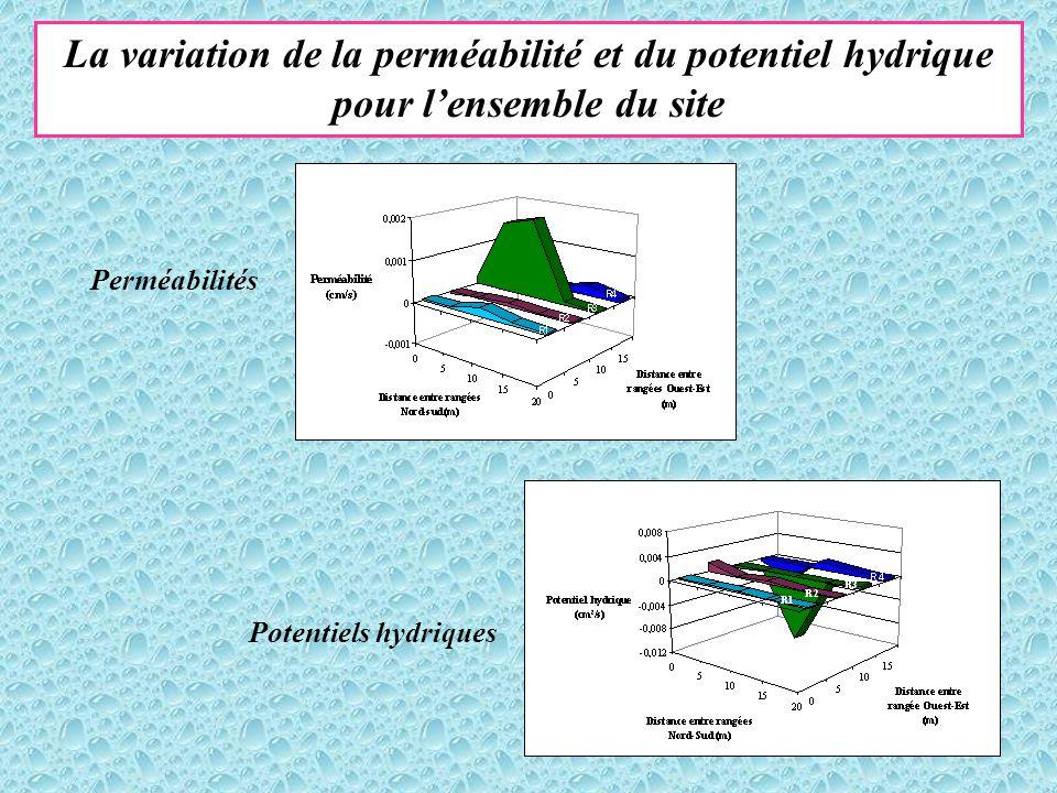 La variation de la perméabilité et du potentiel hydrique pour l'ensemble du site