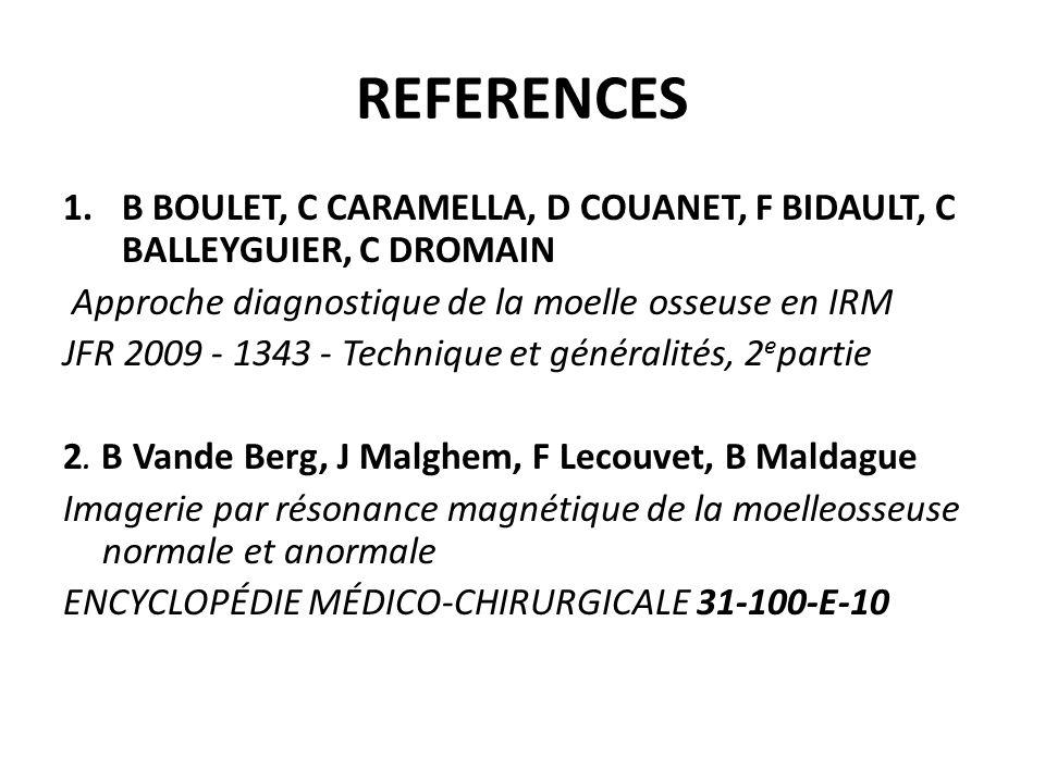 REFERENCES B BOULET, C CARAMELLA, D COUANET, F BIDAULT, C BALLEYGUIER, C DROMAIN. Approche diagnostique de la moelle osseuse en IRM.