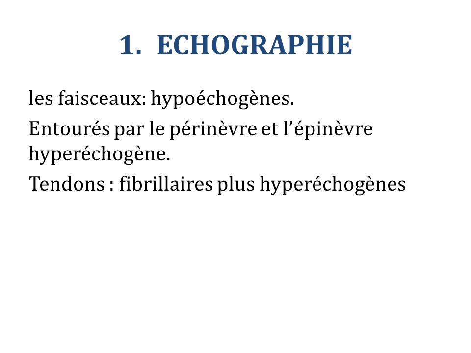 ECHOGRAPHIE les faisceaux: hypoéchogènes. Entourés par le périnèvre et l'épinèvre hyperéchogène.