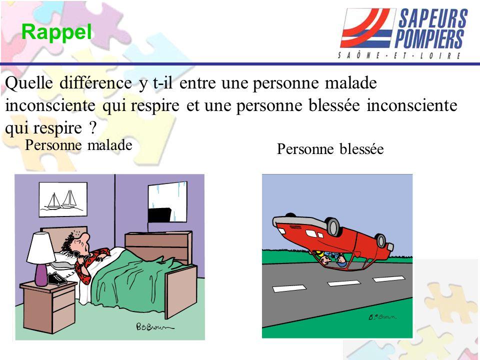 Rappel Quelle différence y t-il entre une personne malade inconsciente qui respire et une personne blessée inconsciente qui respire