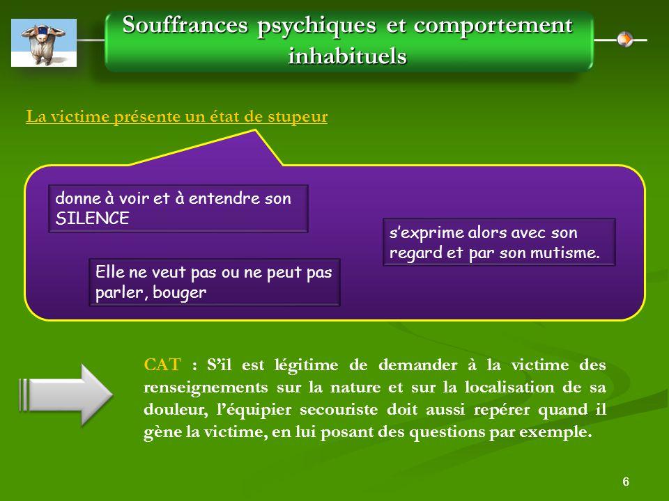 Souffrances psychiques et comportement inhabituels