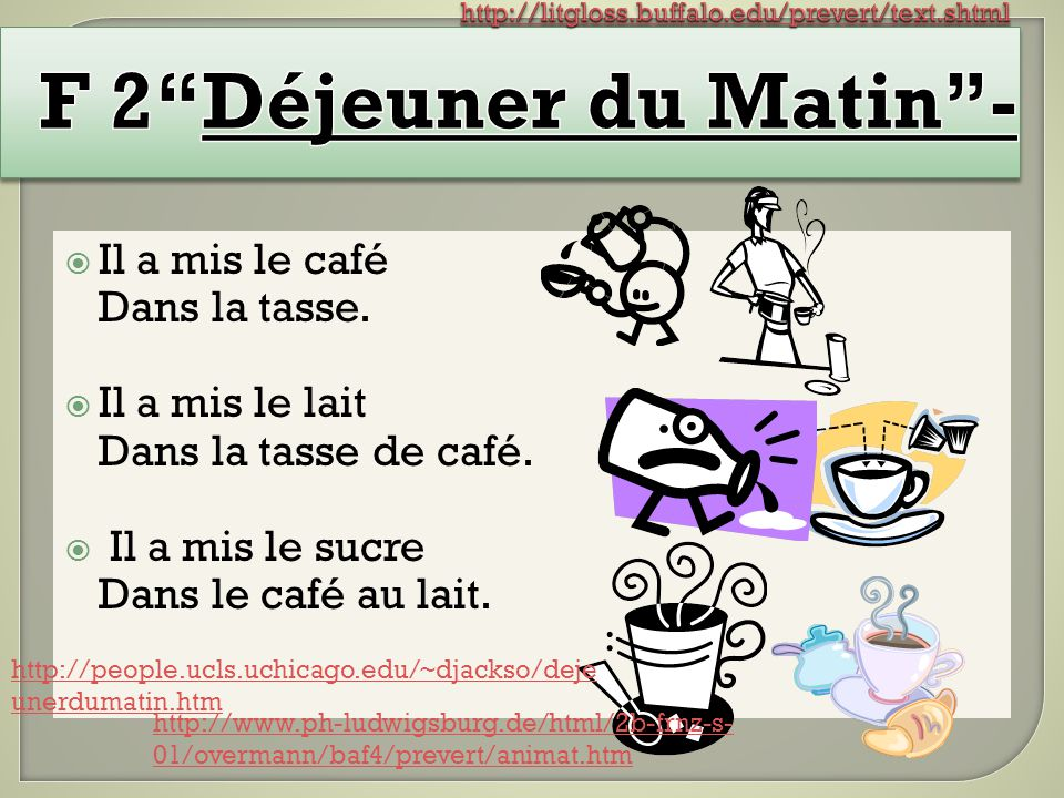 F 2 Déjeuner du Matin - Il a mis le café Dans la tasse.