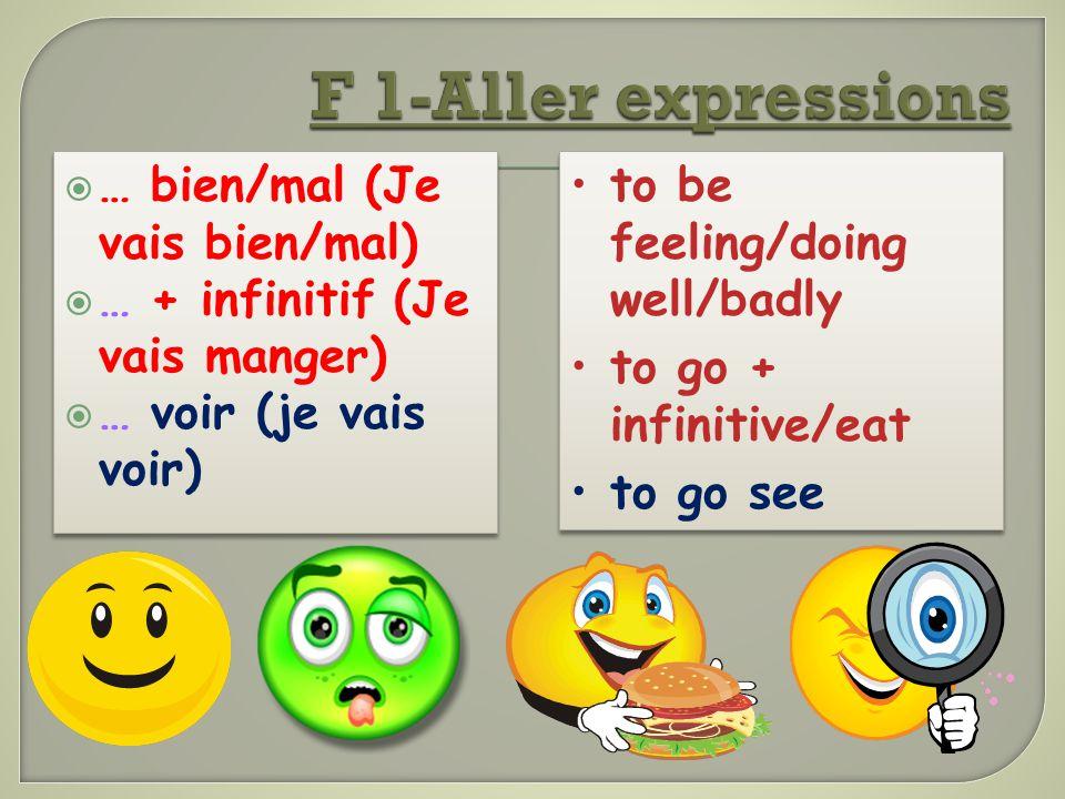 F 1-Aller expressions … bien/mal (Je vais bien/mal)