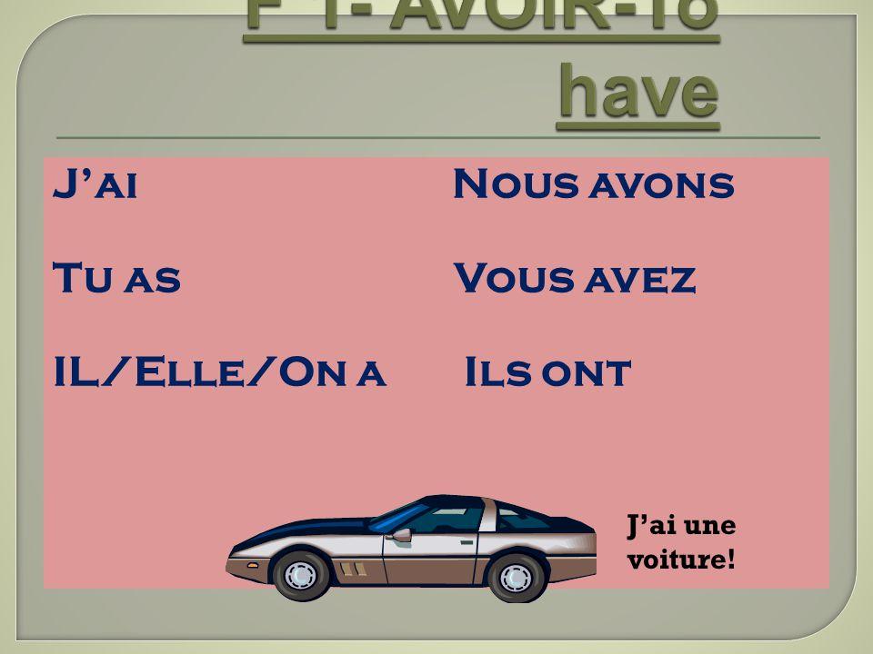 F 1- AVOIR-To have J'ai Nous avons Tu as Vous avez