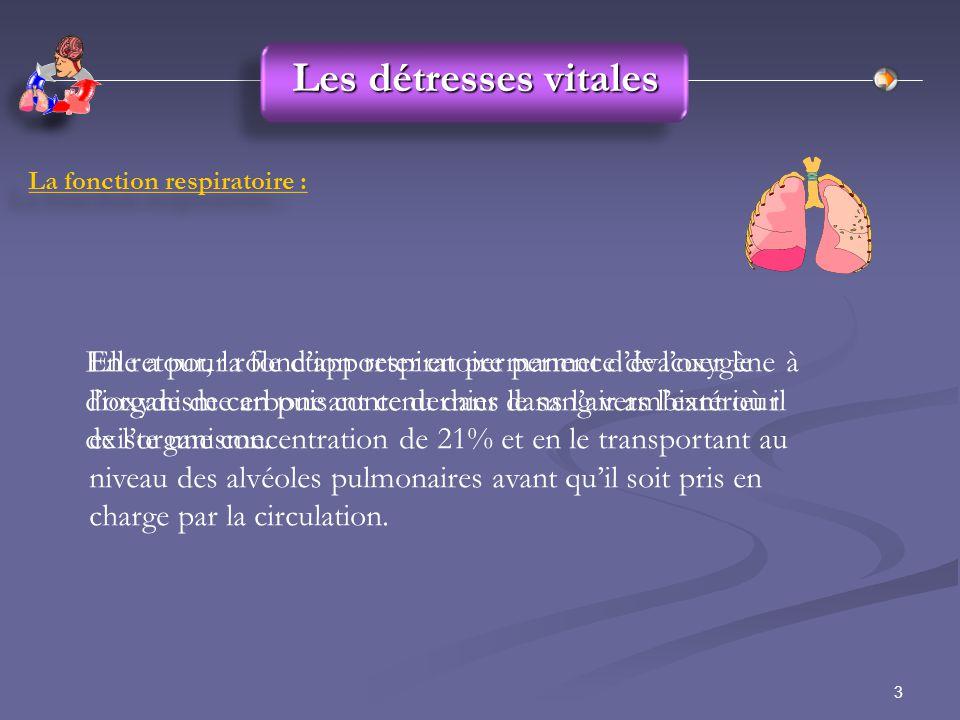 Les détresses vitales La fonction respiratoire :