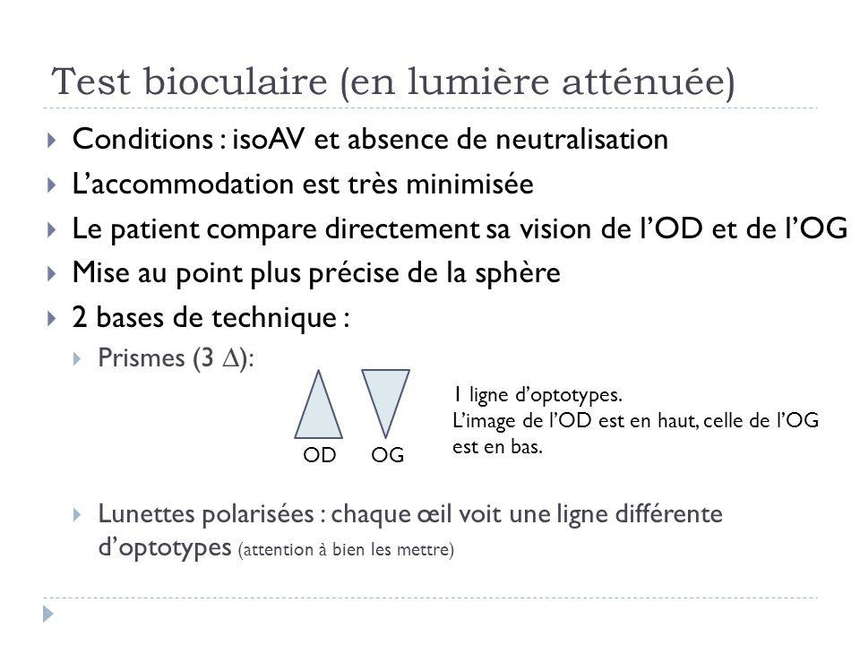 Test bioculaire (en lumière atténuée)