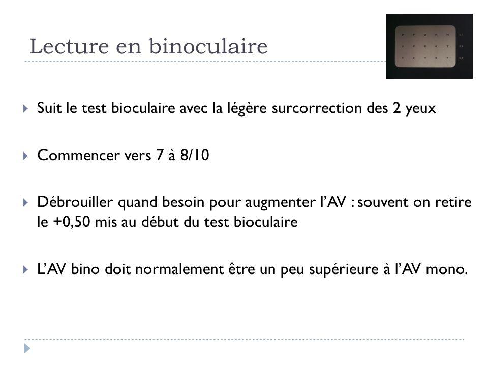 Lecture en binoculaire