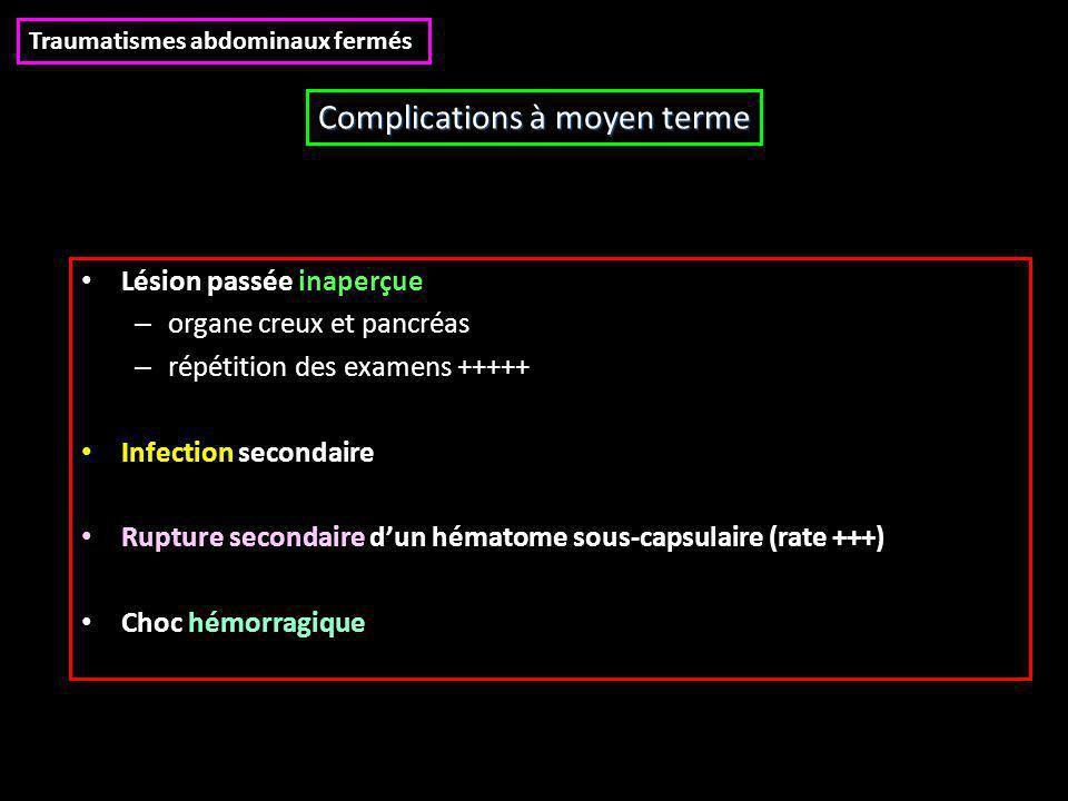 Complications à moyen terme