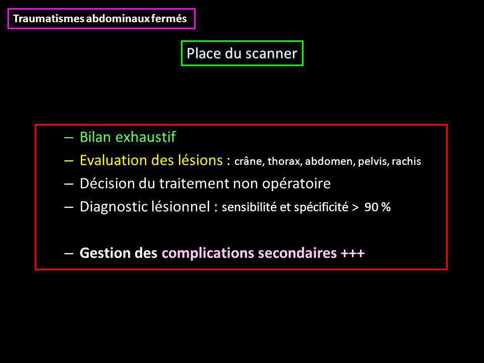 Evaluation des lésions : crâne, thorax, abdomen, pelvis, rachis