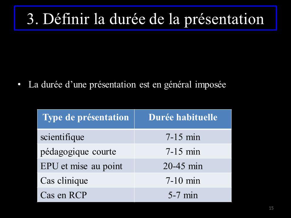 3. Définir la durée de la présentation