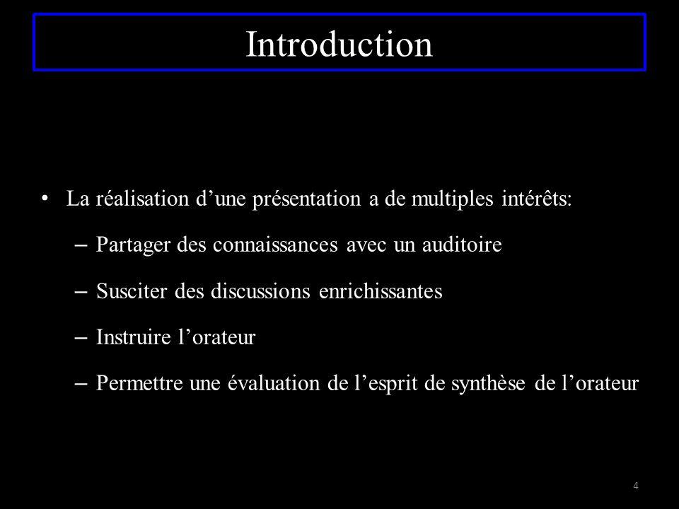 Introduction La réalisation d'une présentation a de multiples intérêts: Partager des connaissances avec un auditoire.