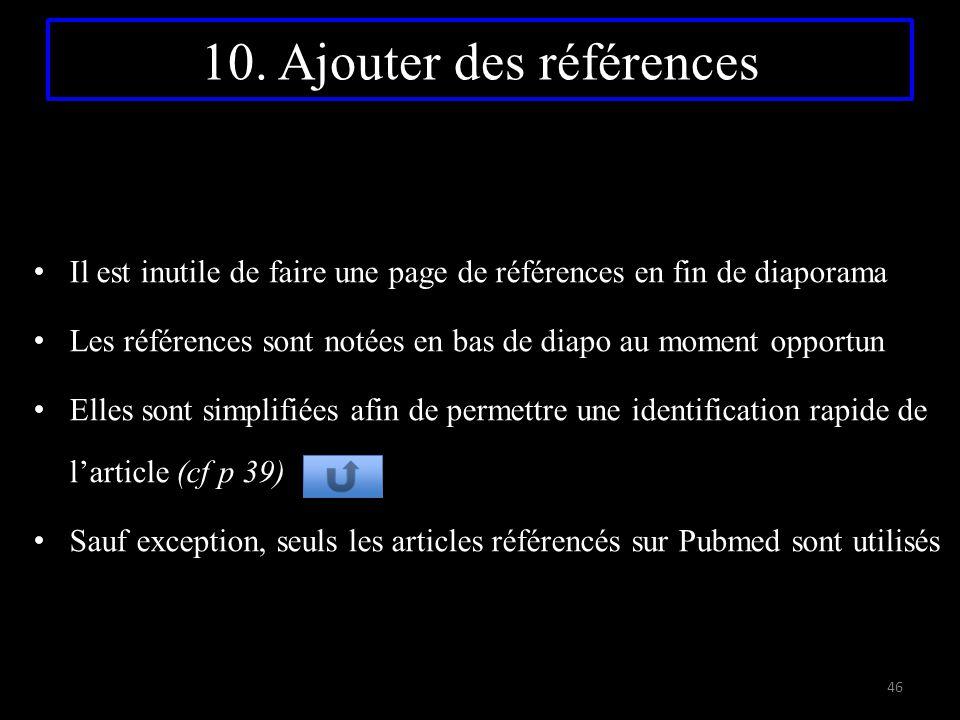 10. Ajouter des références