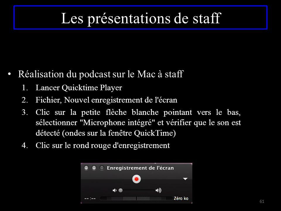 Les présentations de staff