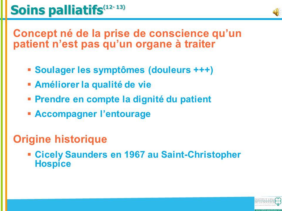 Soins palliatifs(12- 13) Concept né de la prise de conscience qu'un patient n'est pas qu'un organe à traiter.