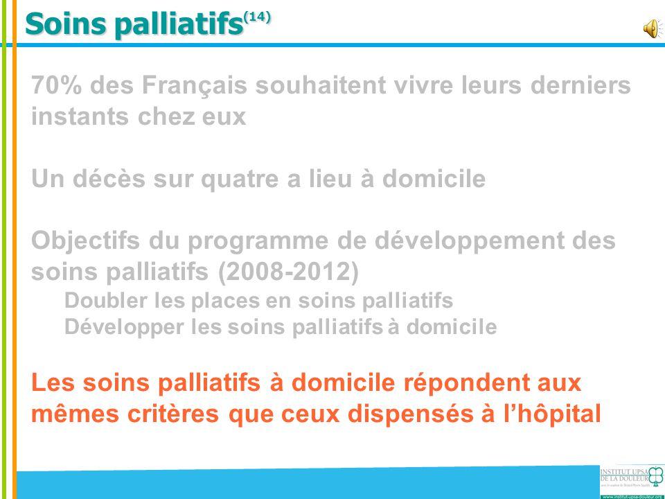 Soins palliatifs(14) 70% des Français souhaitent vivre leurs derniers instants chez eux. Un décès sur quatre a lieu à domicile.