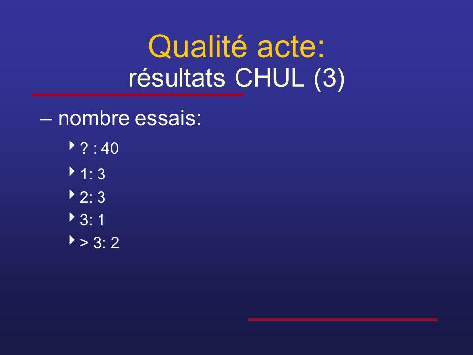 Qualité acte: résultats CHUL (3)