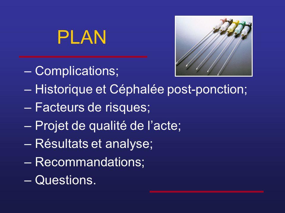 PLAN Complications; Historique et Céphalée post-ponction;